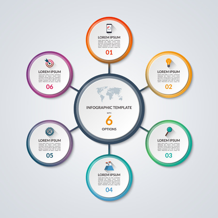 Infografik Kreisdiagramm. Vector Banner mit 6 Stufen, Teile, Optionen. Vorlage für Business-Infografiken mit dem Satz von flachen Icons und Design-Elemente. Kann für Zyklusdiagramm, runde Grafik verwendet werden.