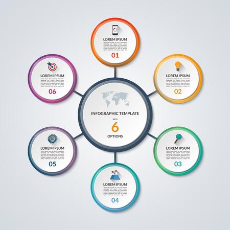 Infographic circle diagram. 벡터 배너 6 단계, 부품, 옵션. 플랫 아이콘 및 디자인 요소 집합 비즈니스 infographics에 대 한 템플릿. 사이클 다이어그램, 원형 차 일러스트