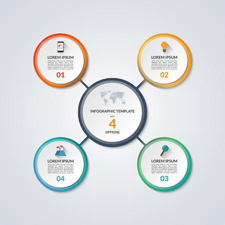 infographic circle diagram vector banner with 4 steps parts rh 123rf com Software Development Life Cycle Diagram Software Development Life Cycle Diagram