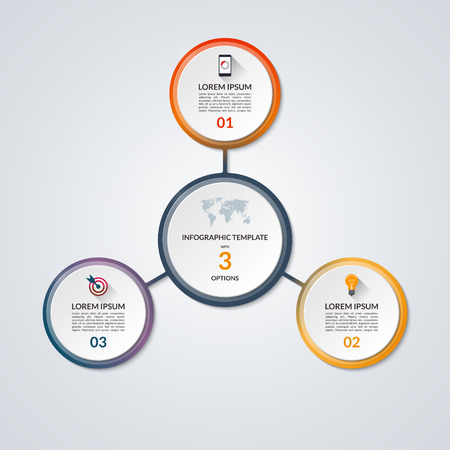 three wheel: Infographic circle diagram. Vector banner with 3 steps, parts, options. Template for business infographics with the set of flat icons and design elements. Can be used for cycle diagram, round chart.