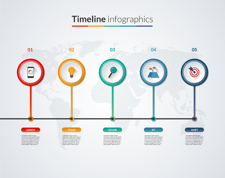 decade: Timeline infographic template with business icons, design elements and world map. Vector banner with 5 circles, bars, options, steps, parts. Can be used for diagram, chart, graph, report, web design