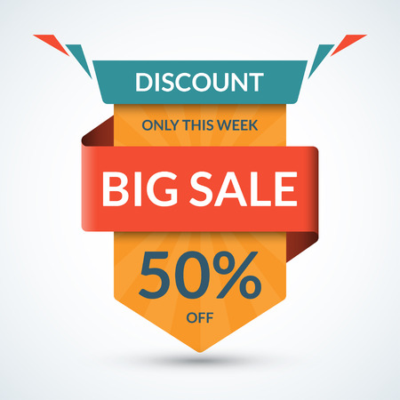 sale tag: Big sale banner. Discount label. Best offer tag. 50 percent off vector background. Half price colorful sticker. Season sale and special offer concept. Shopping badge