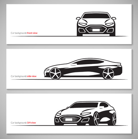 luxury cars: Set of modern car silhouettes, contours isolated on white background. Front, side, three quarter view. Vector illustration