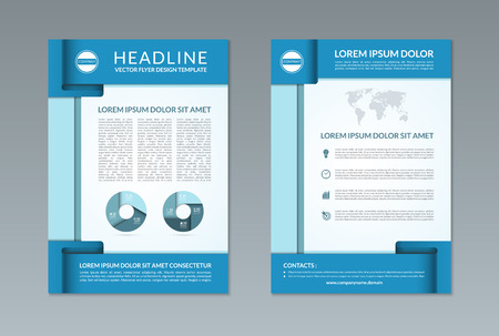 design template: Flyer brochure design template. A4 size. Front and back page. Vector layout with business icons and infographic elements. Can be used for handbill, booklet, catalog, annual report, presentation etc.