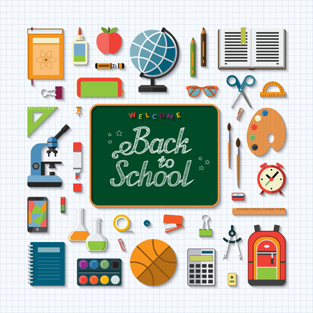 schoolbook: School education flat concept background. Chalkboard with handwritten inscription: Welcome back to school. Set of school items, supplies- schoolbook, notebook, stationary, training aids, ball, bag etc Illustration