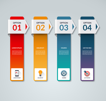 vertical bars: Infographic template. Business process concept with 4 arrows, options, steps, parts, vertical bars. Vector banner with the set of flat icons and design elements. Can be used for graph, chart, scheme