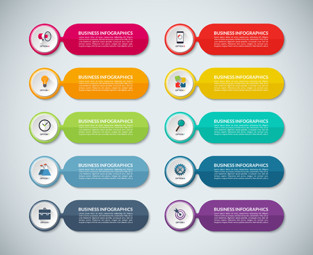 Templates for infographics. Set of abstract colorful banners with white circles. Business concept with 10 options, parts, steps. Vector background with business icons and design elements