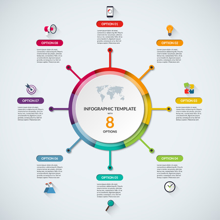 circle design: Infographic circle diagram template. Business concept with 8 steps, parts, options. Banner with the set of flat icons and design elements. Can be used for cycle diagram, round chart, graph, report
