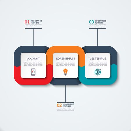 추상 infographic 템플릿입니다. 세 가지 옵션, 단계, 부품 비즈니스 개념.
