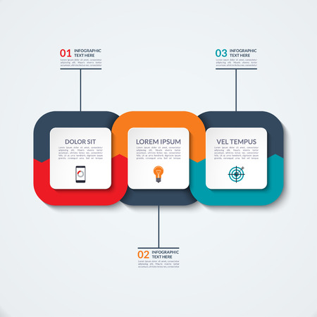 Infografía plantilla abstracta. Concepto de negocio con tres opciones, los pasos, las partes. Foto de archivo - 60227222