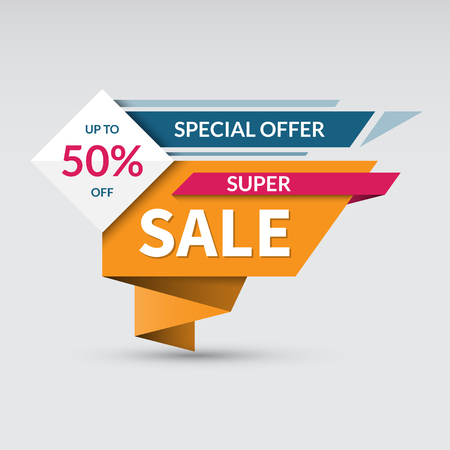 advertisements: Super sale banner. Special offer label. Up to 50 percent off concept. Half price colorful sticker. Shopping badge. Origami style.