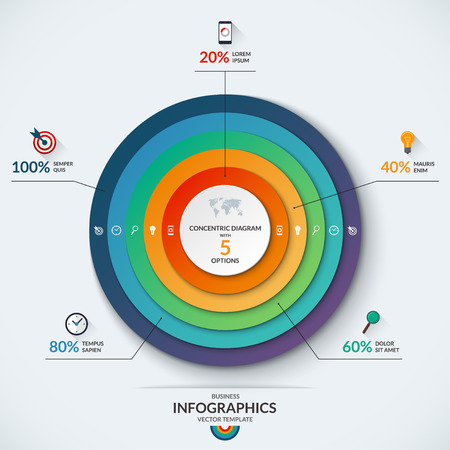 Infographic diagram template with concentric circles. with 5 options- 20, 40, 60, 80, 100 percent. Can be used for web design, presentation, graph, chart, report, data visualization