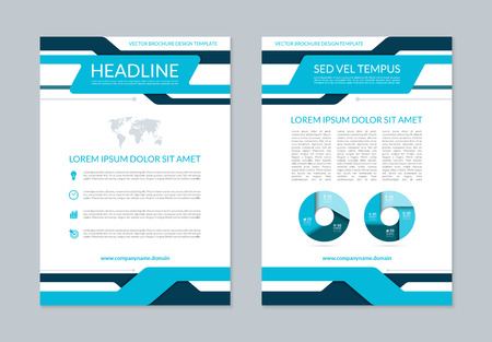 design template: brochure annual report layout template. A4 size. Front and back page. background with business icons and infographic elements. Can be used for cover design, leaflet, booklet, catalog