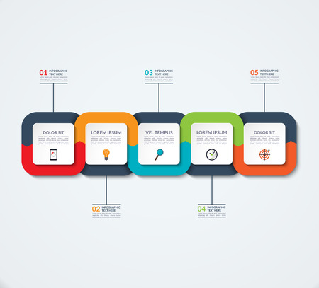 Abstract infographic template. Business concept with 5 options, steps, parts. for timeline infographics, workflow layout, diagram chart, annual report, presentation, web design.