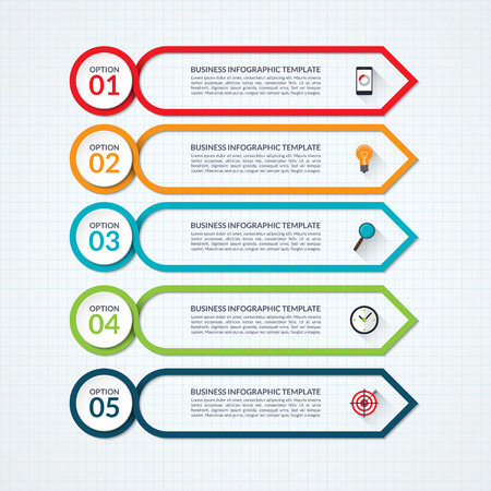 visualisation: Infographic arrow design template with 5 options, steps, parts, processes. what can be used for diagram, graph chart, report, plan, strategy, data visualisation, web design Illustration