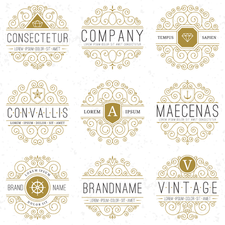 feminine: Luxury logo templates set in vintage style. Line art retro monograms, insignias, emblems, logotypes, labels with elegant floral ornamental design elements. Vector illustration