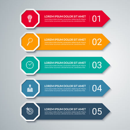 visualisation: Infographic arrow design elements. Business template with 5 options, steps, parts. Can be used for diagram, graph, chart, report, data visualisation, web design. Colorful vector banner Illustration