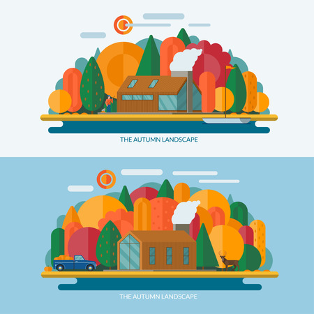 lake house: Autumn landscape concept illustrations. Modern private house, sun, trees, clouds, sailboat, lake shore. Set of banners in flat style.