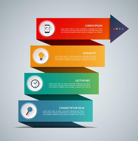 La crescita del business infografica concept banner. Modello di vettore con 4 opzioni. Può essere usato per il web, diagramma, grafico, grafico, relazione, passo dopo passo infografica