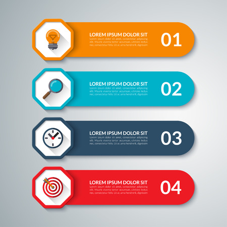 visualisation: Infographic elements. Vector design template with 4 options, steps, parts. Can be used for diagram, graph, chart, report, data visualisation, web design