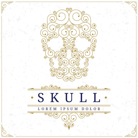 Skull logo template in retro vintage style with elegant floral calligraphic ornamental lines. Vector illustration
