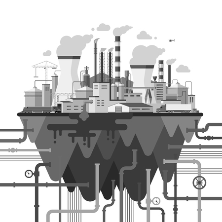 Ecology and nature pollution concept illustration. Industrial landscape with factory buildings, utililies, smoking pipes, coolers, wires, constructions, communications. Flat style vector illustration