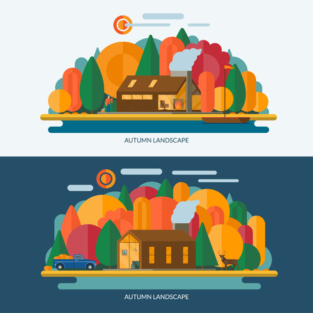 animal private: Autumn landscape vector illustrations. Modern private house, autumn forest, lake shore with the sailboat. Set of banners in flat style. Contains transparency Illustration