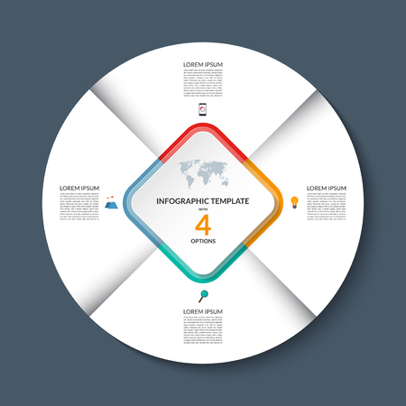 sectors: Vector infographic circle template. White round banner with 4 steps or options. Business concept with the set of marketing icons and design elements. Can be used for cycle diagram, pie chart, graph