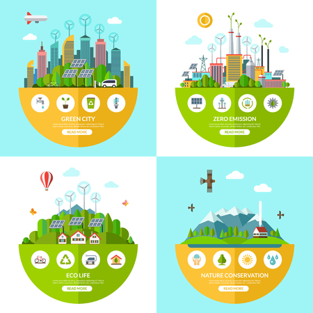 zero emission: Set of flat vector ecology illustrations with icons of environment, green city, eco life, nature conservation, planet saving, alternative energy, zero emissions, recycling, eco-friendly transport