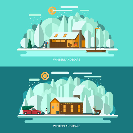 lake shore: Winter landscape vector illustrations set. Modern private house, winter forest, lake shore with the sailboat, christmas tree, snowman, deer, snowy weather. Flat design