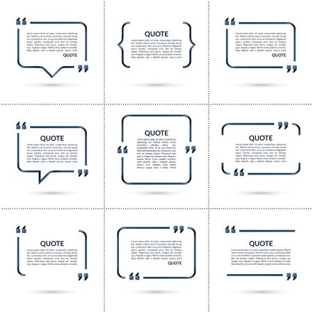 Conjunto de plantillas de vectores de cotización. Con forma de burbuja, marco en blanco para las citas, texto entre corchetes aislado en el fondo blanco