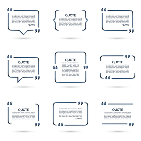 and comma: Set of vector quote templates. Speech bubble, blank frame for citations, text in brackets isolated on white background