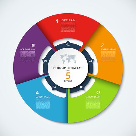 Modello di infografica del cerchio. Disegno vettoriale con 5 opzioni. Può essere utilizzato per diagrammi a ciclo, diagramma rotondo, grafico, rapporto annuale, presentazione, web design, infografica passo dopo passo Vettoriali