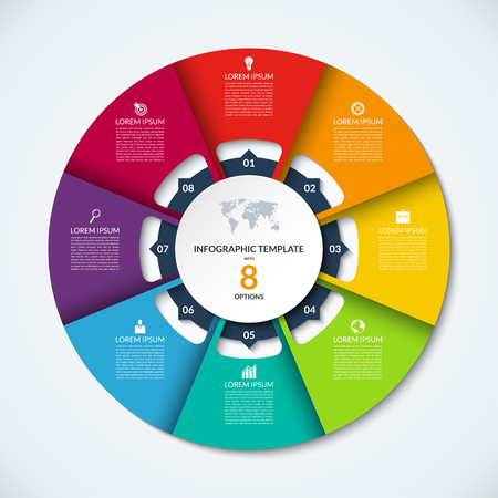 Circle infographic template. Vector layout with 8 options. Can be used for cycle diagram, round chart, graph, annual report, presentation, web design, step by step infographics  イラスト・ベクター素材