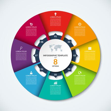 Cercle modèle infographique. Vector layout avec 8 options. Peut être utilisé pour le diagramme de cycle, tableau rond, graphique, rapport annuel, la présentation, la conception web, étape par étape infographies Vecteurs