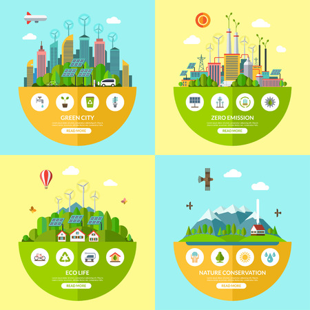 conservation: Set of flat  ecology illustrations with icons of environment, green city, eco life, nature conservation, planet saving, alternative energy, zero emissions, recycling, eco-friendly transport