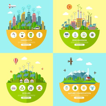 Set von flachen Ökologie Illustrationen mit Ikonen der Umgebung, grüne Stadt, eco Leben, Naturschutz, Planeten, alternative Energie, null Emissionen, Recycling, umweltfreundliche Transportspar
