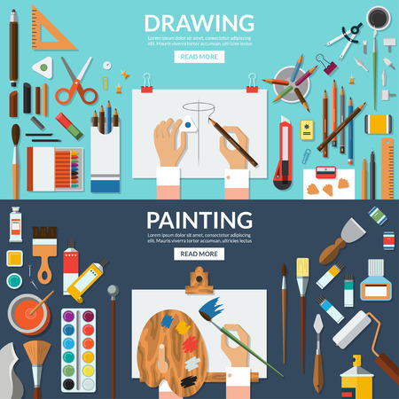 paleta de pintor: Dibujar y pintar banderas conceptuales establecidos. bellas artes y el proceso creativo. Materiales de arte - caballete, paleta, papel, pinceles, lápices, lápices, pinturas, acuarela, etc Vista superior. ilustraciones planas