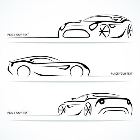 Reihe von modernen Sportwagen Silhouetten. Illustration