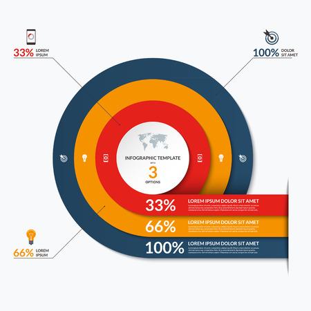 Cercle modèle infographique. Vector bannière avec 3 options- 33, 66, 100 pour cent. Peut être utilisé pour le diagramme, graphique, diagramme, rapport, visualisation de données, présentation, conception de sites Web