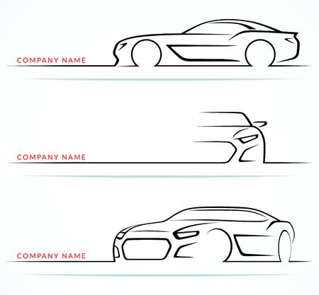 Satz von Silhouetten Sportwagen auf weißem Hintergrund. Vorne, hinten, Seitenansichten. Vektor-Illustration
