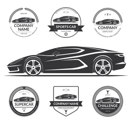Coche deportivo, silueta de coche super con el conjunto de etiquetas de servicio de coches, emblemas, logotipos. Ilustración vectorial negro aislado sobre fondo blanco