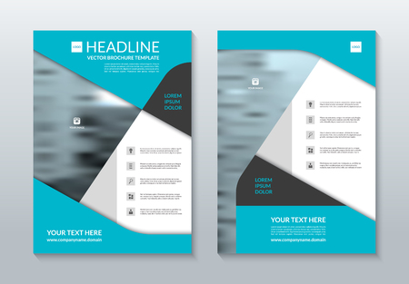 handout: Blue annual report brochure layout template. A4 size. Front and back page. Can be used for flyer, handbill, handout, booklet, catalog, presentation, cover design, poster, leaflet. Vector background