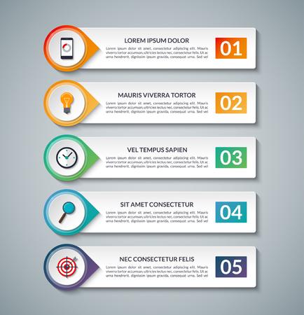 비즈니스 인포 그래픽 배너. 5 옵션, 단계, 부품 템플릿입니다. 도표, 그래프, 보고서, 프리젠 테이션, 차트, 웹 디자인, 데이터 시각화에 사용할 수 있습