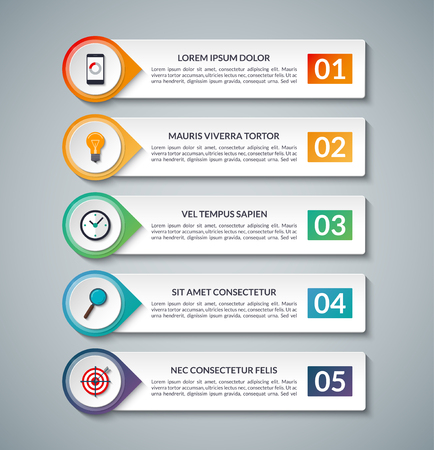 Affaires bannière infographique. modèle avec 5 options, étapes, pièces. Peut être utilisé pour le diagramme, graphique, rapport, présentation, graphique, web design, la visualisation des données. Vecteurs