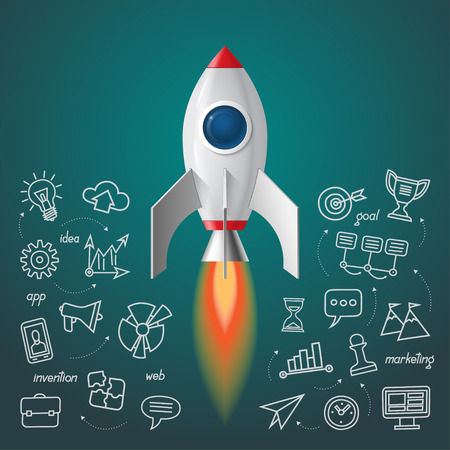 business space: Space rocket launch. Business project start up concept. Soaring spaceship with the set of doodle icons of marketing strategy, launching new innovation product, creative start on market.