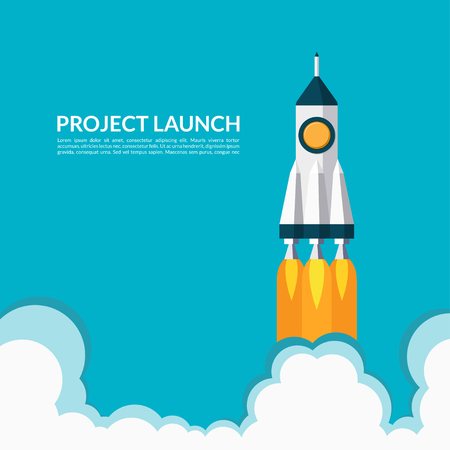 business space: Project launch. Starting space rocket. Business start up concept. illustration in flat style
