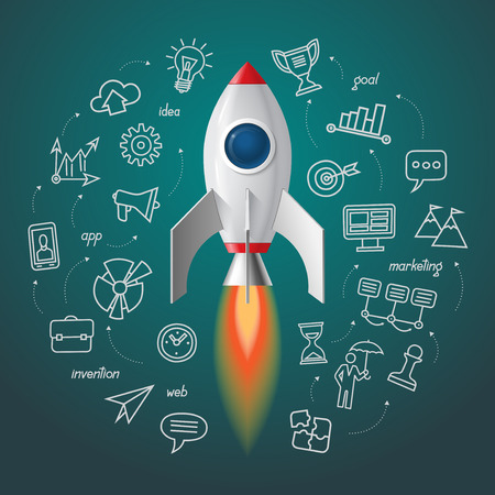business space: Space rocket launch. Business project start up concept. rocket with the set of doodle icons of marketing strategy, launching new innovation product, creative start on market.
