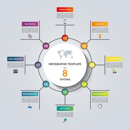 Lineaire infographic cirkel sjabloon met 8 opties. voor het bedrijfsleven infographics. Kan gebruikt worden voor cyclus diagram, ronde tabel, grafiek, presentatie, rapport, stap opties, web design.