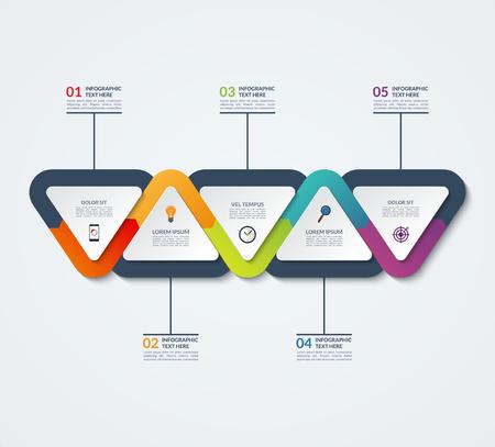 Infografía plantilla de elementos triangulares. Concepto de negocio con 5 opciones, los pasos, las piezas, los segmentos. para la web, infografía de línea de tiempo, el diseño de flujo de trabajo, diagrama, el informe anual Ilustración de vector